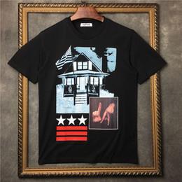 Wholesale Graffiti Shirt White - 2018 new summer Luxury brand men T-shirt Graffiti block white star T-shirt mens short sleeves Cotton Casual Designer t shirt mens Tops Tees