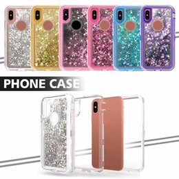 robot bags Coupons - Robot Commuter Cases Cover For iPhone X 8 7 Plus 3 in 1 Bling Crystal Glitter Liquid Quicksand Case For Samsung Note 8 with OPP Bag