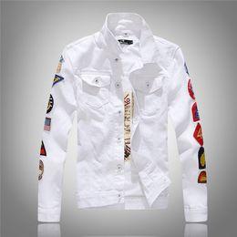 мужская одежда Скидка Yuwaijiaren мужская джинсовая куртка высокого качества мода джинсы куртки повседневная уличная Винтаж мужская джинсовая одежда