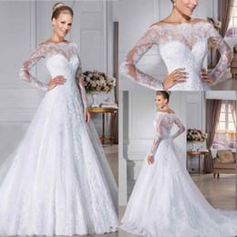 Wholesale Gold Modest Wedding Dresses - Long Sleeves Plus Size Wedding Dresses 2018 A-Line Lace Applique Bateau Sheer Beaded Sweep Train Modest VintageBridal Gown Vestidos de Novia