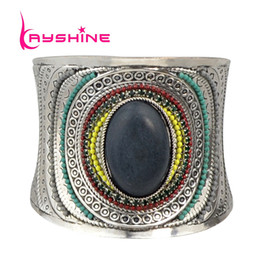 Wholesale Carved Stone Beads Wholesale - Wholesale- Ethnic Indian Jewelry Big Individual Open Cuff Bracelets Anqitue Silver Color Carved Colorful Beads Blue Stone Statement Bangles