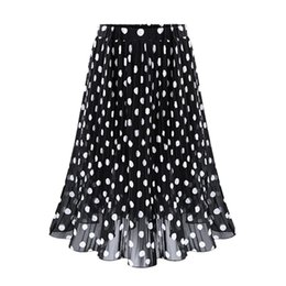 Wholesale Dotted Ladies Skirts - Ladies Casual Long OL Fashion Black Dot High Waist Chiffon Pleated Skirts 2017 New Fashion Casual Vintage Beach Midi Skirt