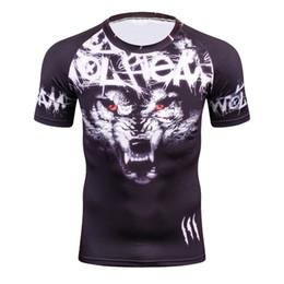 2019 haut feste t-shirts Coole Männer 3D T-Shirts Wolf Druck Kurzarm Jungen Kompression Tight Skin Shirt MMA Fitness Base Layer Gewichtheben T-Shirt rabatt haut feste t-shirts