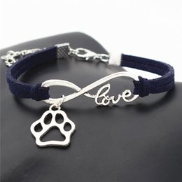 bracelet dog pendants Promo Codes - Romantic Love DIY Charm Bracelets Infinity Pet Footprint Cats Dogs Paw Claw Pendant Bangles for Women Men Jewelry Christmas New Year's Gifts