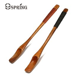 Wholesale Wholesale Honey Spoons - 6pcs Natural Wood Long Handle Spoons Coffee Tea Honey Bar Cocktail Stirring Mixing Spoons Wood Set Of 6 Small Wooden Spoons
