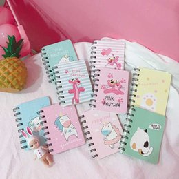 Blocco note del gatto online-1 Pz Lovely Cartoon Unicorn Pink Panther Cat Spiral Mini Notebook Diario degli animali Libro portatile Notepad Stationery Office School