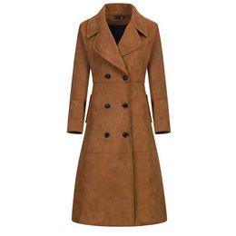 Casacos de inverno mulheres extra longas on-line-Extra Long Camurça Trench Coat para as mulheres 2018 Outono / Inverno Novo Design Plus Size Outwear Escritório Lady Magro Sobretudo