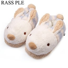 Wholesale One Size Slippers - RASS PLE Women Cute Animal Rabbit Slippers Home,House ,Bedroom ,Floor Slippes Winter Warm Shoes One Size Fit 22.5cm-25cm Foot