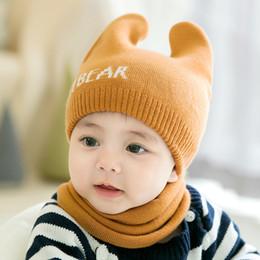 2019 conjuntos de bufanda sombrero niños Cute Newborn Baby Beanies Hat  Bufandas - Oso de punto 3aaed95b59a