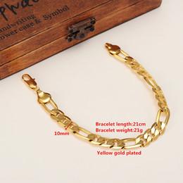 африканский медный браслет Скидка Мужские 24 K твердого желтого золота GF 10 мм итальянский Фигаро звено цепи браслет 8.7 дюймов ювелирные изделия