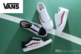 Wholesale Round Mouth - 2018 VANS x Shark Mouths Men Women Canvas Skateboarding Shoes Casual Shoes Sneaker Old Skool Vans zapatillas de deporte Shoe