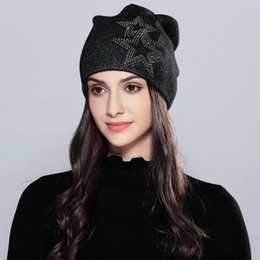 Wholesale woman winter ear cover - New Fashion Women's Knitted Cap Wholesale Ear Cover Hat Bright Silk Pentagram Handmade Wool Hat Warm Autumn and Winter Hat