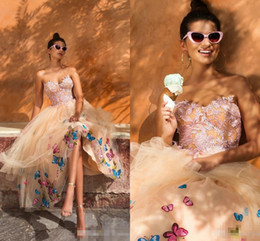 Wholesale Lighted Fall Decorations - 2018 Sweetheart Graduation Prom Dresses Champagne blush Lace Appliques Butterfly Decorations Tea Length 3D floral Homecoming evening dress