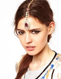 2019 accesorios para el cabello boda india Novia Pinza para el cabello Clip Pink Crystal Rhinestone Cabeza de la cadena de la boda accesorios para el cabello Casquillo de la joyería de la frente india para las mujeres rebajas accesorios para el cabello boda india