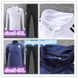 Wholesale Dry Suits - top quality 2018 World Cup Training suit kits Argentina tracksuit long sleeve training suit KUN AGUERO MESSI DI MARIA DYBALA Soccer jersey