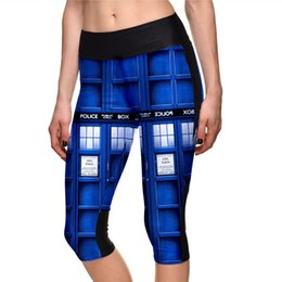 Wholesale Sexy Police S - Pottis Police Box 3D Digital Print Women Capri Leggings Color Printing Sexy Mid-Calf 3 4 Trousers Movement Yoga Pants