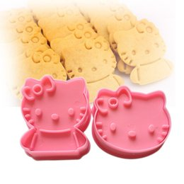 Wholesale Cute Fondant Cookies - Wholesale- Kitchen Cartoon Cute Kitty Cat Various Cookie Fondant Cake Sugarcraft Chocolate Decorating Plunger Cutter Mold Diy 3D Mould Set