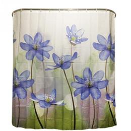 Cortinas moradas de flores online-Cortina de ducha de poliéster Púrpura Azul Flor grande Cortina de baño impermeable con 12 ganchos 180X180cm