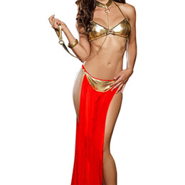 Conjunto de polos online-2018 lencería sexy sujetador de cuero de oro caliente sujetador velo largo palo bailando conjunto de lencería lenceria sexy lencería erótica trajes atractivos