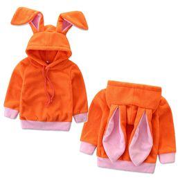 Giacche per animali da ragazzi online-Neonate Grandi orecchie da coniglio Capispalla animali del fumetto Cappotto coniglietto con cappuccio Cappotto per bambini Primavera Autunno Abiti Boutique C5563