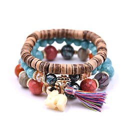 Wholesale wild pearl - New Design Leaf 4pcs White simulated-Pearl Elephant Wood Beads Brand Design Wild style Bracelet For Lady
