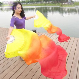 Wholesale belly dance costumes children - Free Shipping Rainbow Belly Dance Silk Fan Veils Of Belly Dance Costume Accessory Of Bamboo Long Fan Floading For Children
