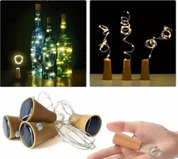 Wholesale outdoor novelty string lights - 10 LED Solar Wine Bottle Stopper Copper Fairy Strip Wire Outdoor Party Decoration Novelty Night Lamp DIY Cork Light String LLFA