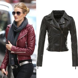 Wholesale Red Faux Leather Jacket Women - Wholesale-Women Winter Red Black Zipper jacket Ladies Motorcycle Faux Leather Jackets Plus Size 2015 new design