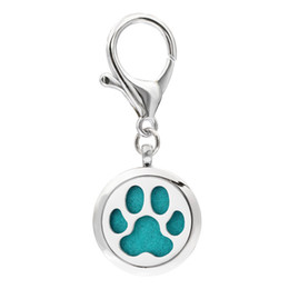 Wholesale Free Cat Dog - Dog Cat Paw KeyChain Essential Oil Aroma Diffuser Perfume Locket with Lobster clasp Keychain keyring With 5pcs free Pads KA61-KA70