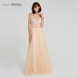 Cor de pêssego vestido de baile on-line-Cristal Vestidos de Noite Real Imagem Pêssego Cor Tule Uma Linha Até O Chão Vestidos de Baile Vestidos de Noite Árabe 2019