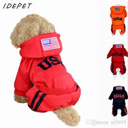 Wholesale Fashion Dog Coats - 2016 Fashion Dog Clothes Pet Cat Coats USA Winter Jumpsuit Sportwear 100% Cotton Jacket Hoodies Sport Clothing For Dogs 25