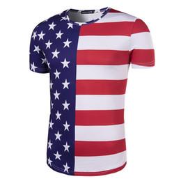 Camisa de homens de listras de estrelas on-line-JM World Cup EUA fãs stripe stars dia da independência impresso camisetas homens street clothing blazer meia manga com mangas curtas