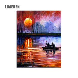 Wholesale Pictures Numbers - Sunset Lake Boat Acrylic Oil Modular Painting By Numbers Dropshipping Handpainted Coloring By Number For Modern Wall Art Picture