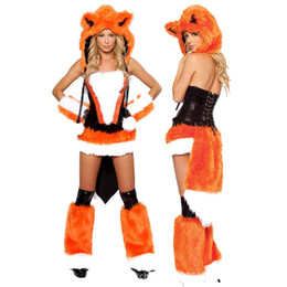 costumes fur women Promo Codes - Orange Sexy Carnival Cosplay Winter Fox Costume Faux Fur Animal Uniform Halloween Plush Cat Outfits Christmas Theme Costume
