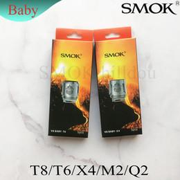 Atomizadores t8 online-100% original SMOK TFV8 BABY Bestia Tanque Bobina Cabeza V8 Baby-T8 T6 X4 M2 Q2 0.4ohm Base Bobinas atomizadoras de reemplazo Genuino Smoktech