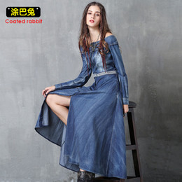 2019 abiti da donna jeans Off spalla estate donne abito denim sexy slash  collo manica lunga