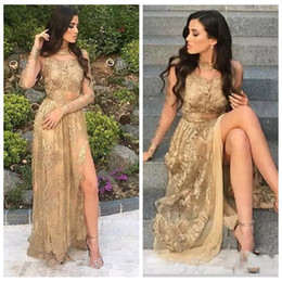 sexy long golden gown Coupons - 2019 Sexy Split A Line High Neck Long Sleeves Prom Dresses With Golden Lace Appliques Evening Party Gowns Custom Vestidos De Soirree