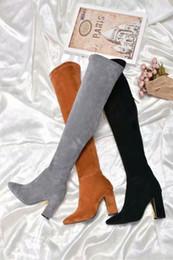 elastisches wildleder über knie stiefel Rabatt 2018 Herbst und Winter Europa und den Vereinigten Staaten über den Kniestiefel elastische Wildleder abnehmen High Heels spitzen Mode Damen Stiefel