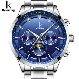 Синий цвет стали стали смотреть онлайн-2018 Popular Color Sky Blue Automatic Mechanical Mens Watch Multifunction Full Steel Fashion Top  Watch Men Reloj Hombre