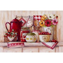Wholesale Fruit Ornaments - Flower & Tableware Fruit Full Drill DIY Mosaic Needlework Diamond Painting Embroidery Cross Stitch Craft Kit Wall Home Hanging Decor