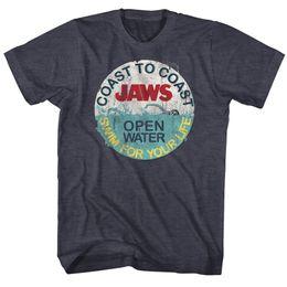 Фильм в натуральную величину онлайн-Челюсти лицензированные футболки фильм мужские новые размеры плавать для вашей жизни в Военно-Морской Флот Вереск 2018 с коротким рукавом хлопок футболки человек одежда