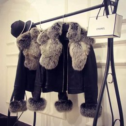 Casaco jaqueta novo on-line-Novo design de moda das mulheres gola de pele de raposa faaux cuff PU couro casaco curto casaco casacos plus size XXL