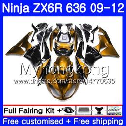 2019 ninja 636 de oro negro Cuerpo ligero de oro + tanque para KAWASAKI NINJA negro ZX636 ZX-6R 2009 2010 2011 2012 208HM.41 ZX 636 ZX 6R 600CC ZX-636 ZX6R 09 10 11 12 carenados ninja 636 de oro negro baratos