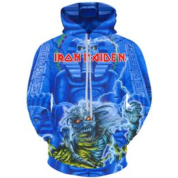 Wholesale skull print hoodie - Cloudstyle 2018 3D Print Hoodies Men Iron Maiden Pullovers Fashion Long Sleeve Hoody Sweatshirt Men Top Streetwear Plus Size 5XL