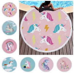 Wholesale large bath towels wholesale - Unicorns Tassels Beach Towel 150*150cm Round Beach Towels Summer Swimming Bath Towels cartoon Shawl Yoga Mat 16 colors baby Blanket