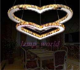 Wholesale Heart Ceiling Light - LED Transparent crystal Pendant Lighting Chandelier Light Transparent OR Amber K9 Crystal Double Heart-shaped Ceiling Lamps Lights