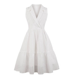 Oscillare online-70s Womens Vintage tinta unita colletto turn-down Swing Dress Plus Size Elegante Rockabilly Party A-Line Dress Summer Sundress Nuovo