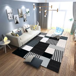 Kristall klassiker für wohnzimmer online-Schwarz-Weiß-Mode-Klassiker Streifen Design Teppiche für Wohnzimmer Home Crystal Samt gedruckt große Fläche Fußmatten Teppich