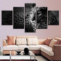 2019 15 marco digital Cuadros de la lona 5 piezas Leopard Painting Home Decor Living Room HD Prints Animales Poster blanco y negro Modular Wall Art Frame 15 marco digital baratos