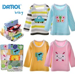 Wholesale Kids Embroidered T Shirts - 5 Pieces   Lot Baby Boys Girls T Shirt DANROL Cartoon Tee Embroidered Baby Long Sleeve Tops Cotton Infant Kids Baby T-Shirt V20